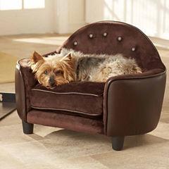 Enchanted Home Ultra Plush Headboard Pet Sofa in Pebble Brown