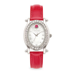 Croton Womens July Birthstone Crystal-Accent Pink Leather Strap Watch