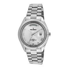 Peugeot® Mens Coin-Edge Bezel Stainless Steel Watch