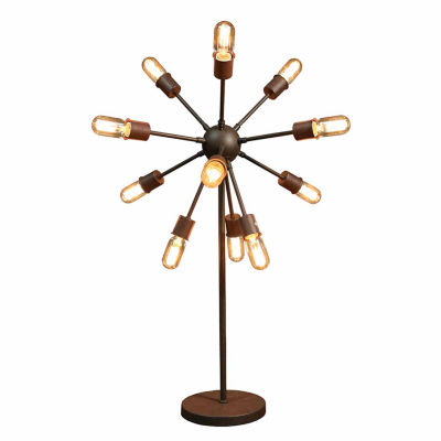 Warehouse Of Tiffany Celia 12 Light Antique Bronze30 Inch Edison Table Lamp  With Bulbs