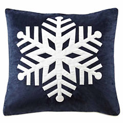 Madison Park Velvet Snowflake Square Throw Pillow