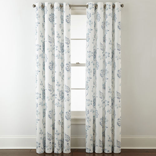 JCPenney Home Quinn Jacobean Grommet-Top Curtain Panel