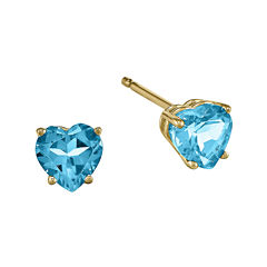 Genuine Swiss Blue Topaz 14K Yellow Gold Heart-Shaped Earrings