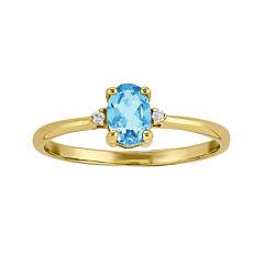 Genuine Swiss Blue Topaz Diamond-Accent 14K Yellow Gold Birthstone Ring