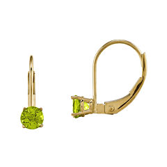Genuine Green Peridot 14K Yellow Gold Drop Earrings