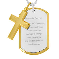 Mens Two-Tone Stainless Steel Serenity Prayer Cross Pendant Necklace