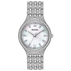 Bulova Womens Silver Tone Bracelet Watch-96l242