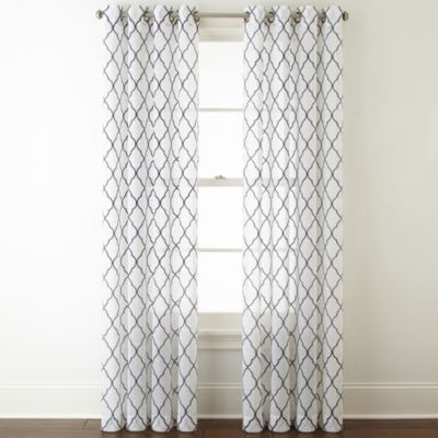 jcpenney home bayview embroidery sheer grommettop curtain panel