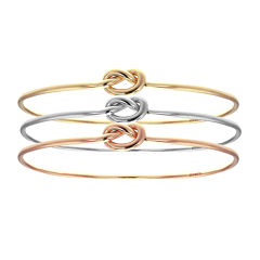 18K Tri-Color Gold Knot Bangle Bracelet Set