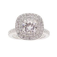 Diamonart® Cubic Zirconia Sterling Silver Double Halo Ring