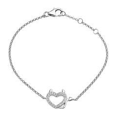 Crystal Sterling Silver Devil Heart Adjustable Bracelet