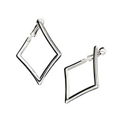 Stainless Steel Diamond-Shaped Drop Earrings