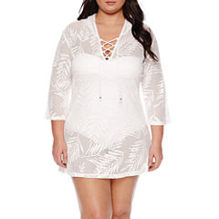 Porto Cruz Crochet Swimsuit Cover-Up Dress-Plus