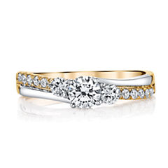 Sirena Womens 3/4 CT. T.W. Genuine Round White Diamond 14K Gold Engagement Ring