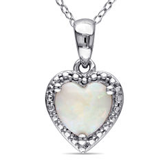 Heart-Shaped Genuine Opal Sterling Silver Pendant Necklace