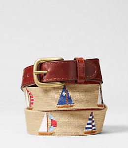 Needlepoint Sailboats Belt