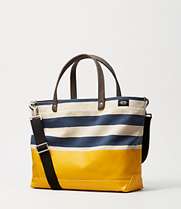 Industrial Canvas Striped Dipped Coal Bag