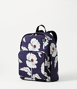 Industrial Canvas Poppy Floral Backpack
