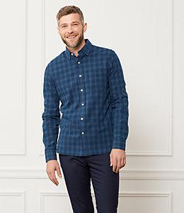 Grant Indigo Plaid Point Collar Shirt