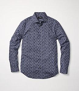 Grant Paris Rose Print Point Collar Shirt