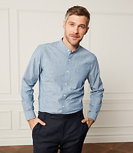 Chambray Stripe Band Collar Shirt