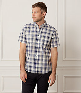 Check Cotton Slub Short Sleeve Shirt
