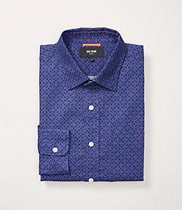 Circular Tile Print Linen Blend Shirt