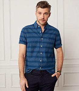 Indigo Stripe Short Sleeve Dobby Shirt