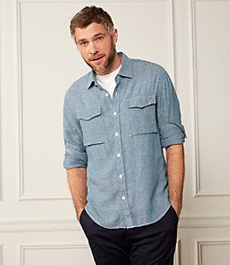 Linen Blend Chambray Shirt