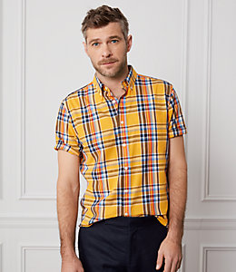 Plaid Poplin Short Sleeve Shirt