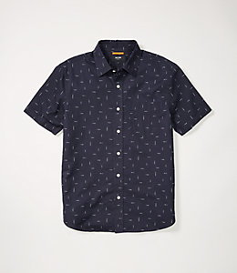 Slub Print Linen Blend Short Sleeve Shirt