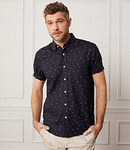 Slub Print Linen Blend Short Sleeve Shirt