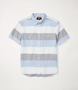 Wide Stripe Oxford Short Sleeve Shirt
