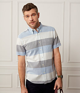 Wide Stripe Oxford Short Sleeve Shirt