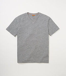 Linen-Cotton V-Neck Tee