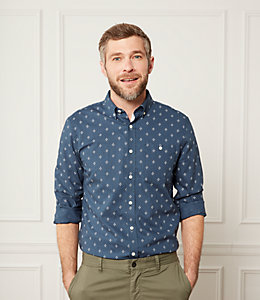 Cotton Linen Micro Print Shirt