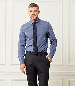 Thompson Classic Fit Spread Collar Textured Pinstripe Dresshirt