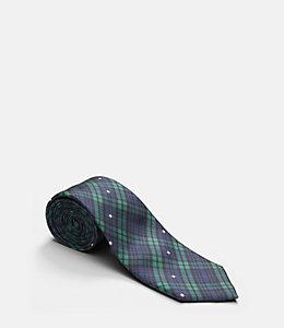 Plaid Snowflake Print Tie