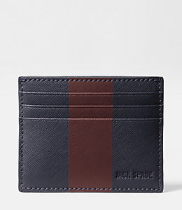 Striped Barrow Leather 6 Card Holder