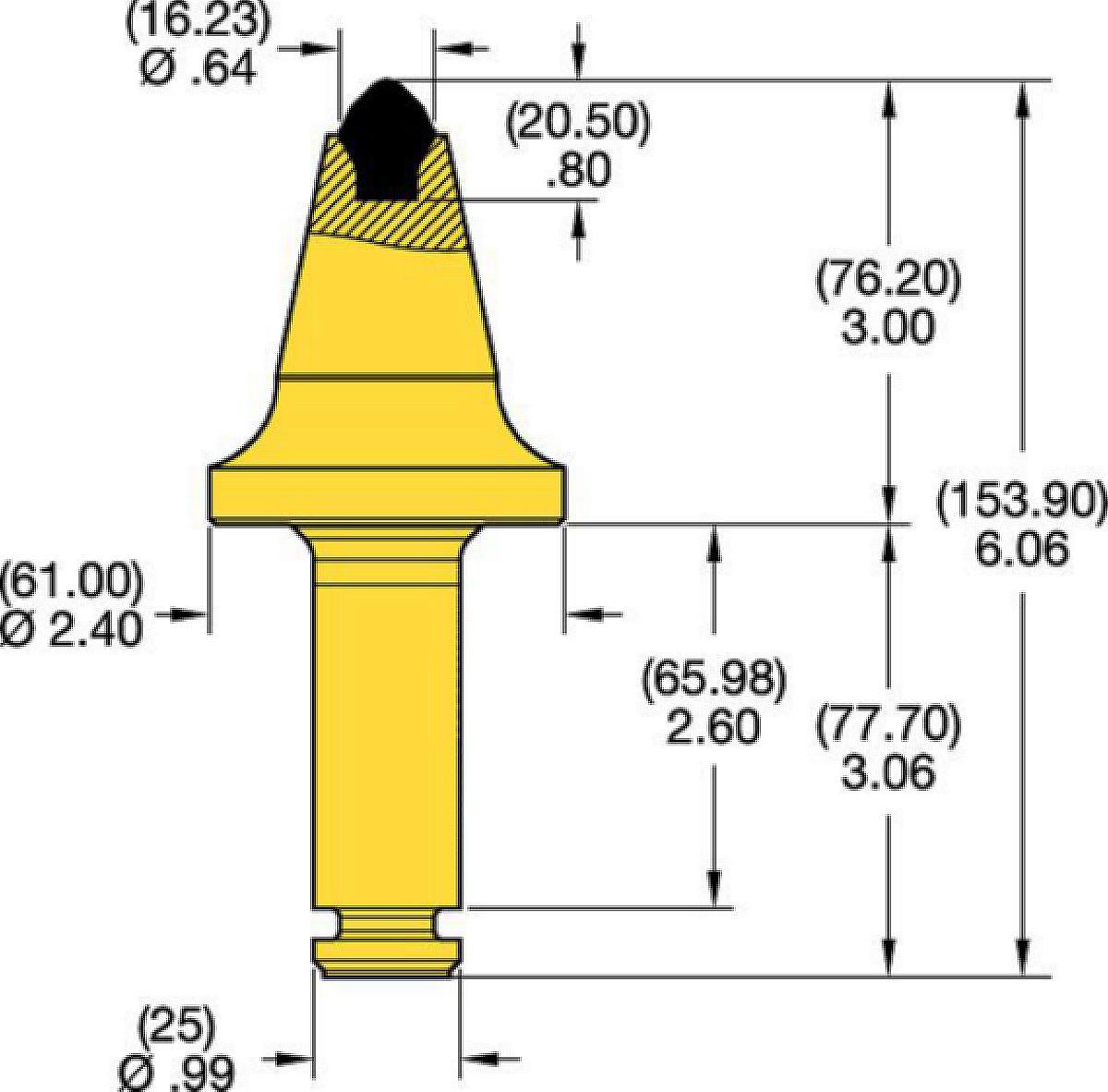 Denti conici con codolo 25mm • Serie T 3.0″