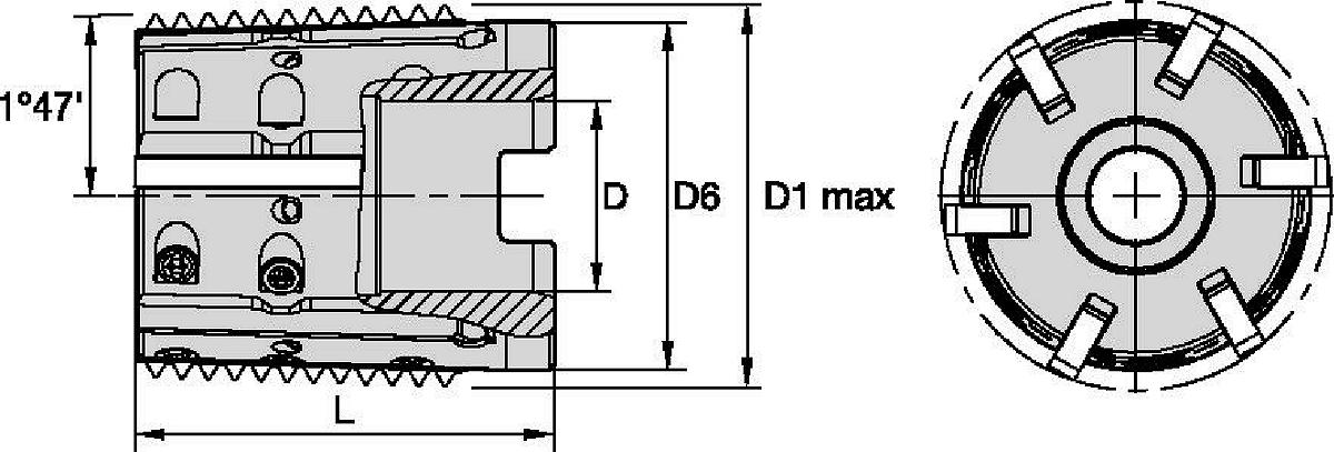 TMST40 • Shell Mill • Conical Threads