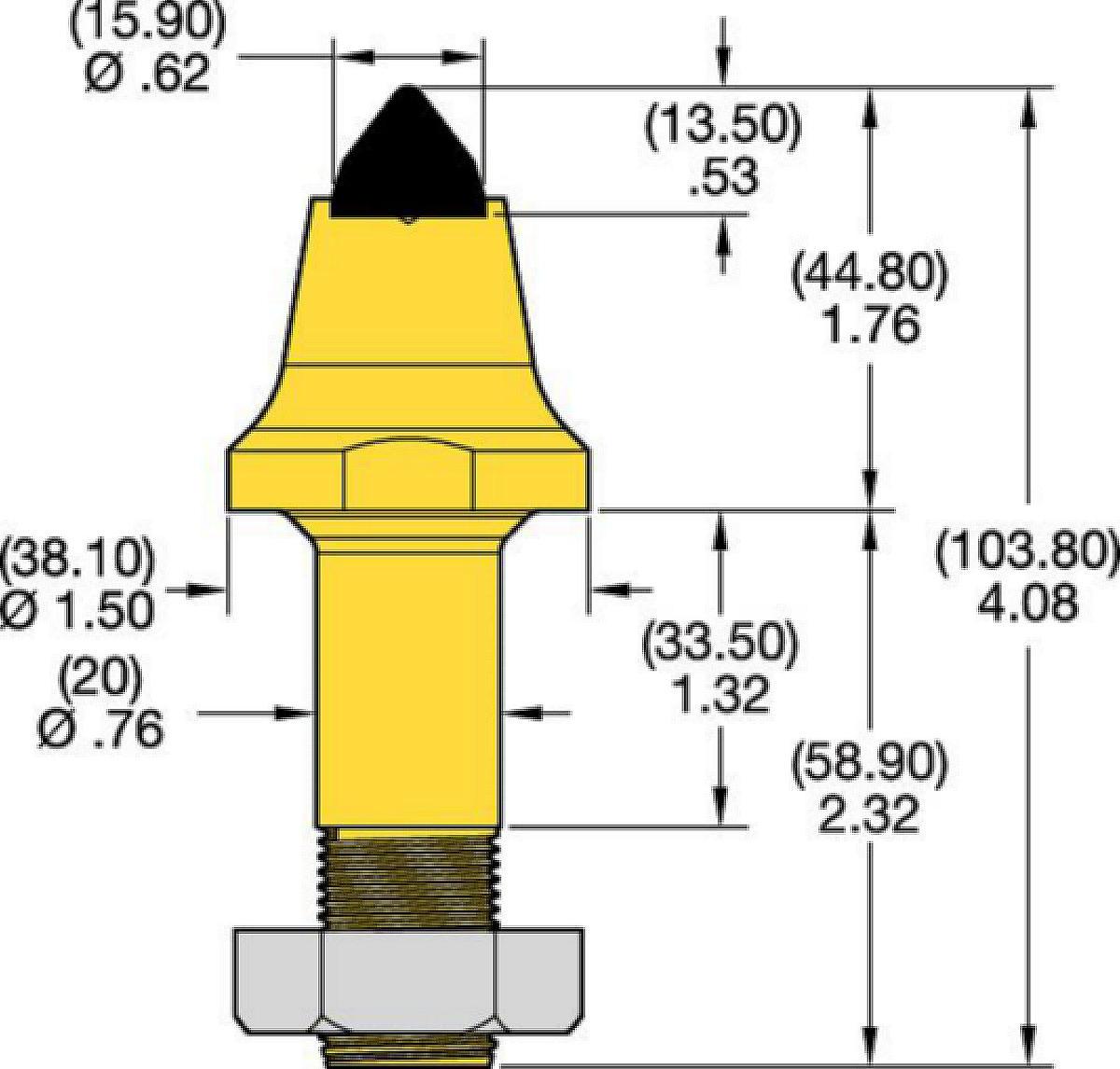 Denti conici con codolo 20mm • Serie RS e C