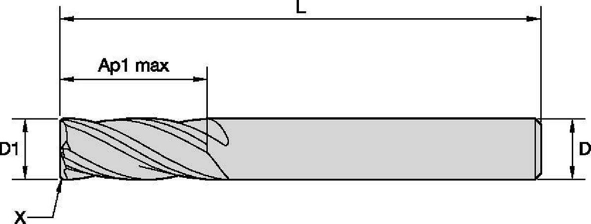 WIDIA Hanita 40241200T075 VariMill 4024 GP Rough//Finish End Mill 0.3 mm Chamfer RH Cut 4-Flute Straight Shank Carbide TiAlN 12 mm Cutting Diameter