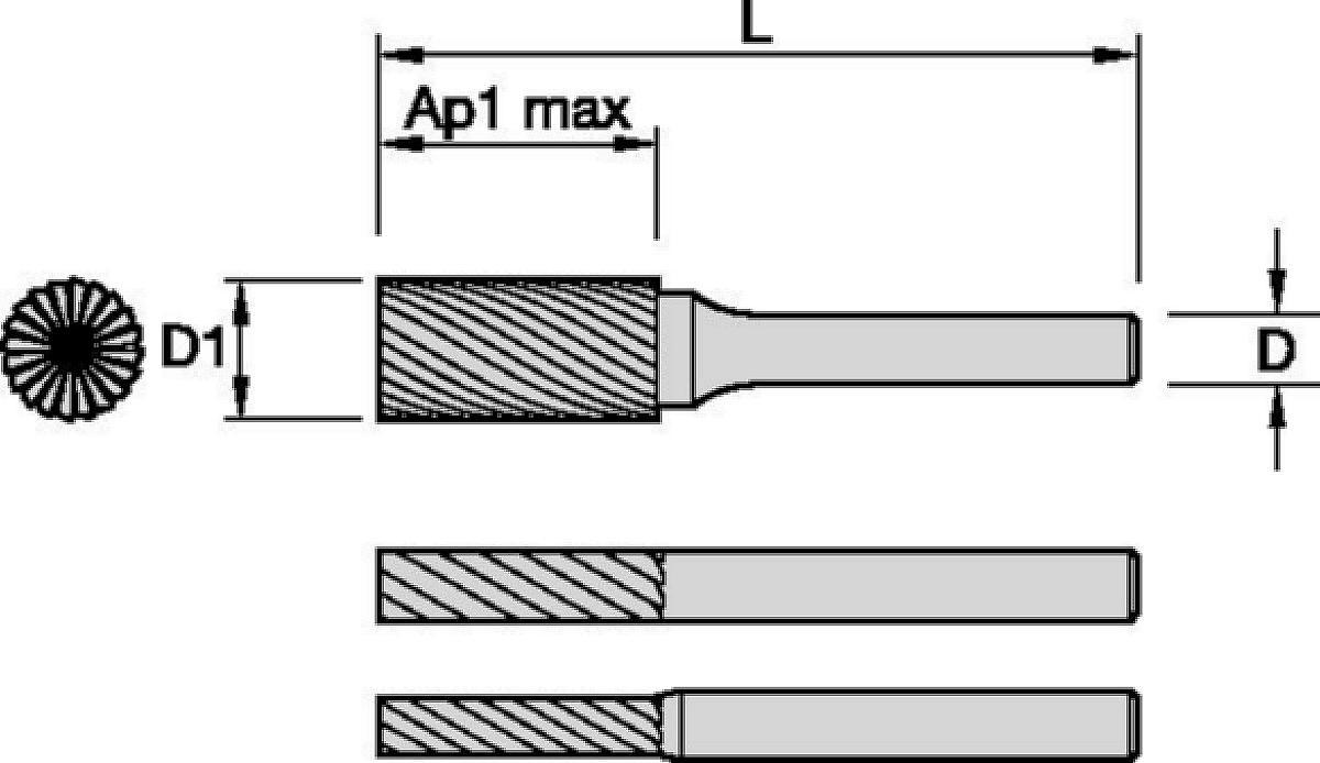 Baureihe SB-M, Zylinder-Form mit Stirnschneiden
