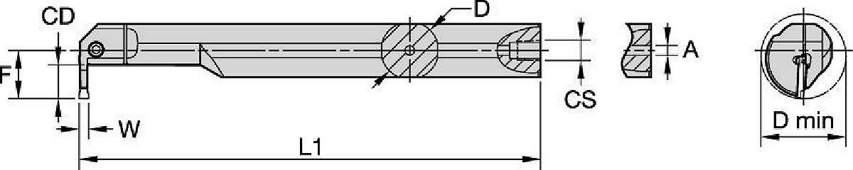 Integral I.D. Grooving Boring Bars