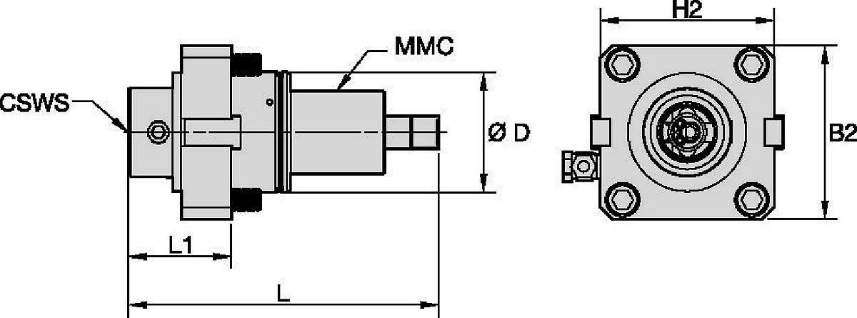 Hyundai WIA • Outil avec entraînement axial • KM™ • MMC 036