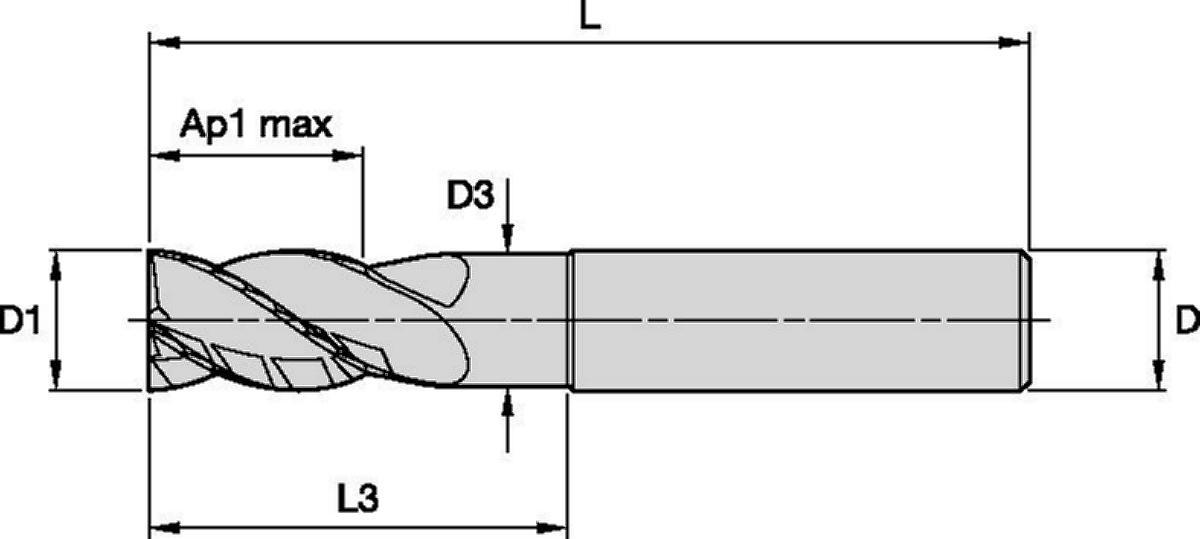 HARVI™ I TE • Extremo cuadrado • 4 canales • Con cuello • Mango liso