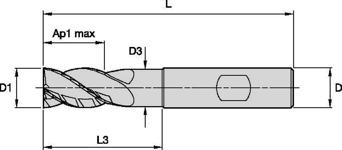 HARVI™ I TE • Extremo cuadrado • 4 canales • Con cuello • Mango Weldon®