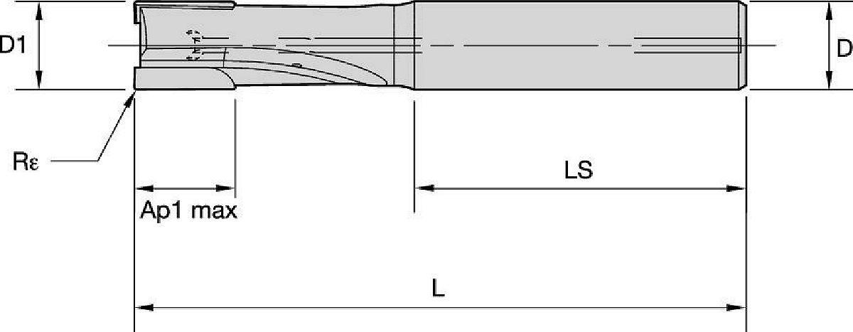 Stopkové PCD FRÉZY • ALCB • 2-břité • 1 X D • Vnitřní chlazení