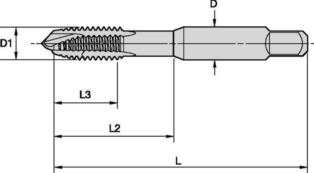 GOtap™ T820 HSS-E Gewindebohrer mit spiralförmigem Anschnitt • Durchgangsbohrungen